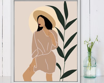 woman fashion Vase decor tropical art terracotta decor Woman with book wall art girl illustration print minimalist art boho wall art