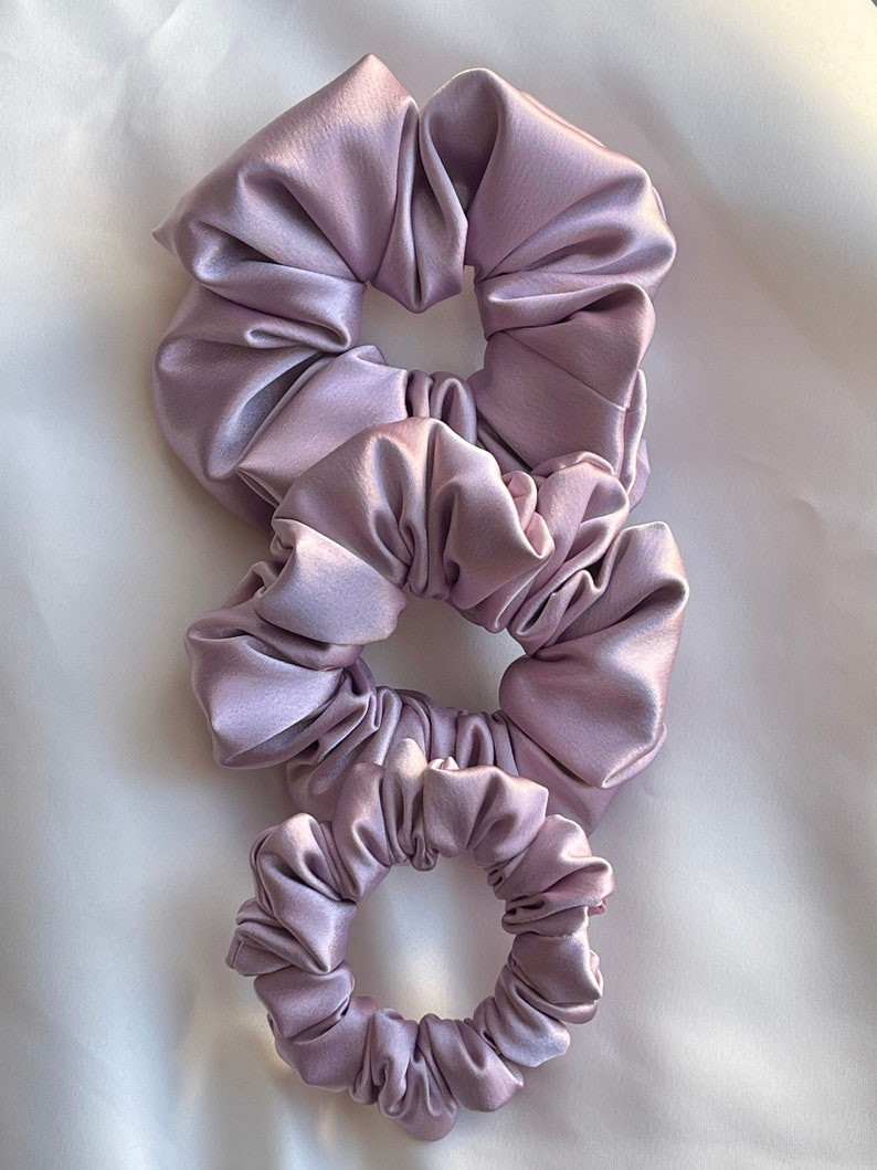 Lilac satin scrunchies set scrunchies pack oversized scrunchie bridesmaid scrunchie gift for her satin hair tie purple scrunchie