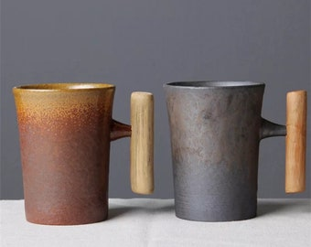 Personalizable Japanese Style Vintage Ceramic Mug with Wood Handle