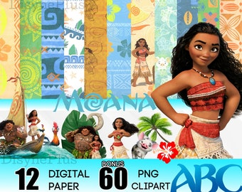 Moana Digital Paper with Clipart Digital Download  scrapbook craft projects 8