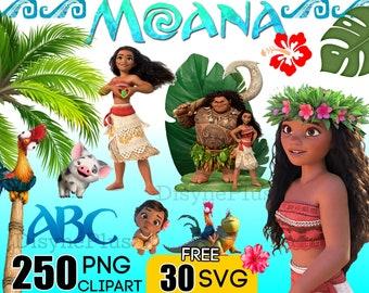 Moana Clipart Digital Download, 250 PNG Free 30 SVG island Moana Hawaii font birthday invitation craft scrapbook