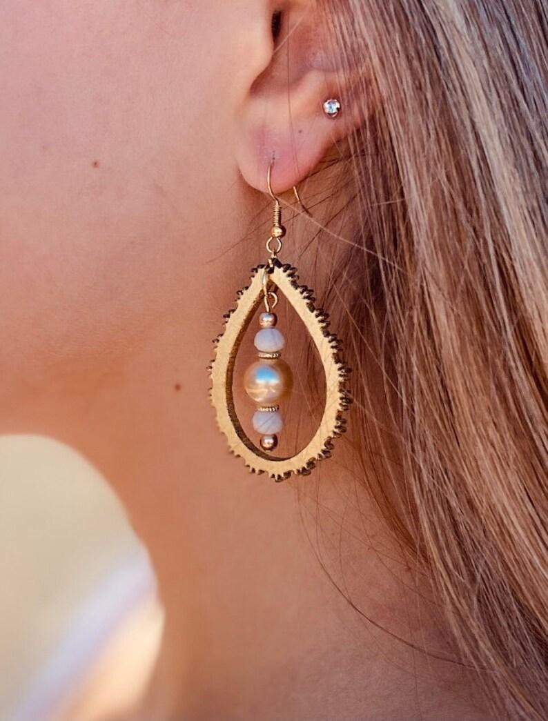 Gold Wood Earrings Wood Teardrop Earrings Trendy Earrings Lightweight Earrings Wood Earrings Wooden Statement Earrings