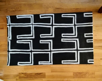 Floor covering, African mudcloth inspired floor covering, accent rug, canvas floorcloth, canvas painting, Mudcloth, rugs, mudcloth mat