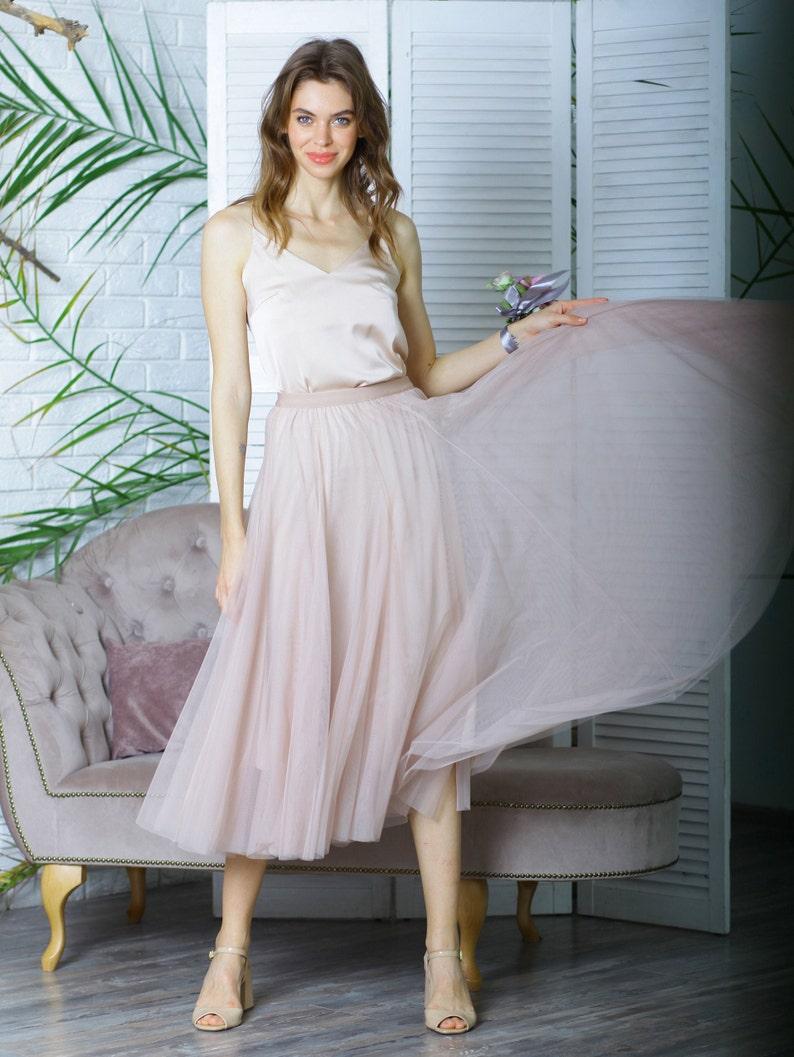 Prom tulle skirt Simple wedding tulle skirt Bridesmaids long tulle skirt Casual tulle skirt