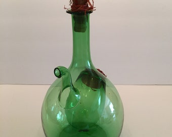 Vintage Green Glass Wine Decanter with Ice Chamber