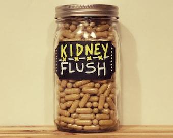 KIDNEY FLUSH - Herbal Kidney Cleanse | Kidney Detoxification | Kidney Stone Relief | Nephritis Relief | Organic | Vegan Capsule