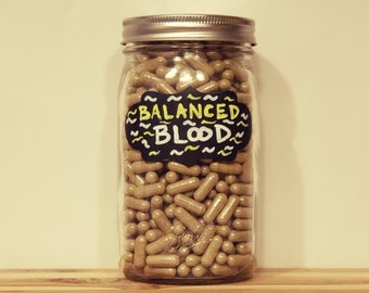 BALANCED BLOOD - Herbal Blood Cleanse | Blood Detoxification | Plant Based Iron | Anemia Relief | Organic | Vegan Capsule