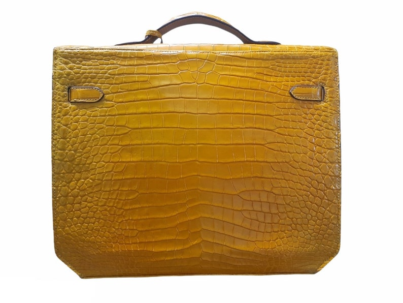 Leather Satchel businessman Briefcase Yellow Premium Genuine Belly Alligator leather Briefcase,gift for him,Leather Briefcase Men,Work Bag