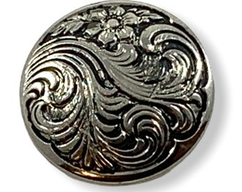 Silver tone and black etched design needle minder