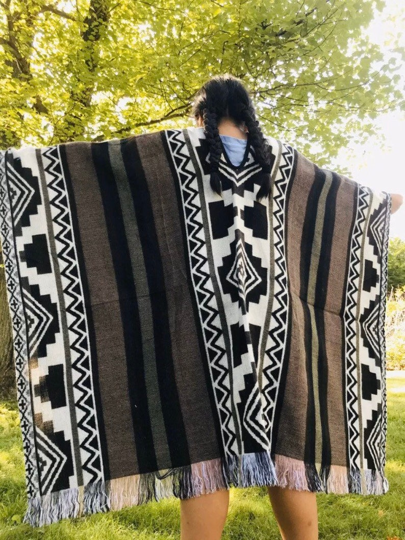 Free Shipping from USA!! Aztec Alpaca Poncho Tribal design| Boho design| Very soft and warm One size and Unisex use