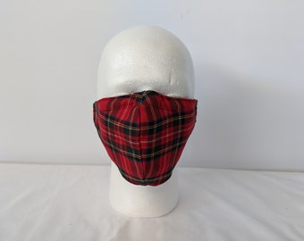 Red Tartan, Scottish, red plaid face mask Olson design 2 layer filter pocket removable nose piece washable reusable