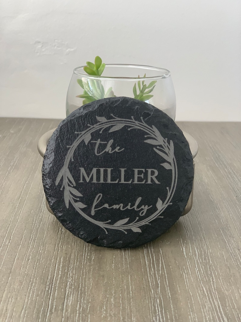 Christmas Slate Drink Coasters Personalized Custom Coasters Laser Engraved Beer Wine Whisky Tea Coffee Home Decor Wedding Gift