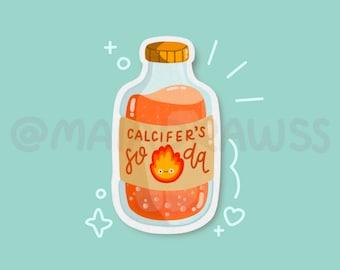 Calcifer's Soda Stickers! cute vinyl studio ghibli anime sticker for hydro flask, phone, laptop