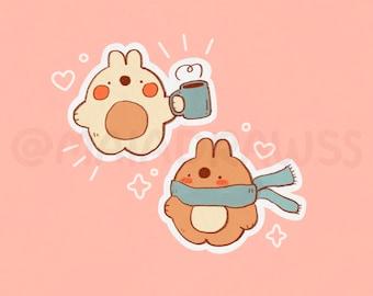 Autumn Bunnies Stickers! cute cottagecore aesthetic kawaii vinyl sticker for hydro flask, phone, laptop, iPad