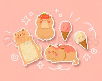 Dessert Cats Stickers! vinyl kawaii pink cat food sticker for hydro flask, phone, laptop, iPad