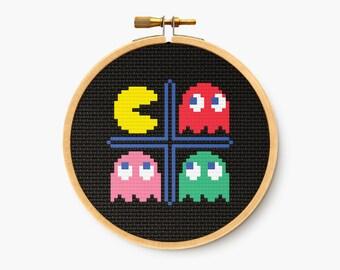 Retro Word Art Home Decor Wall Art Pacman Cross Stitch Pattern Instant Download PDF