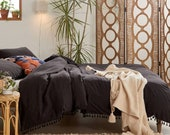 Beautiful fringes 100 pure cotton Duvet cover handmade Bohemian Bedding Cotton Exclusive Duvet Cover, Comforter