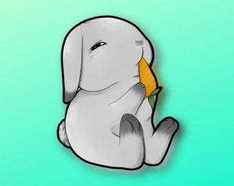 Super Kawaii sleepy bunny eating carrots! Adorable rabbit friend-for laptop, planner, phone case + by  Mega Kawaii