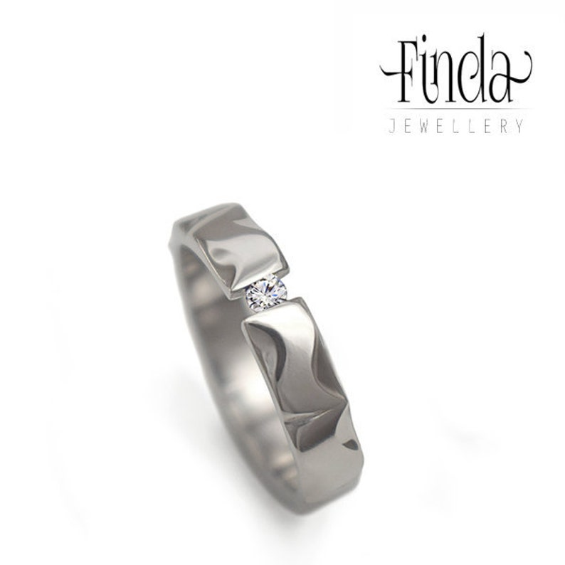 Wedding Band Wedding Ring Stainless Steel Ring with White Cubic Zirconia Mandala Strong Glossy Ring