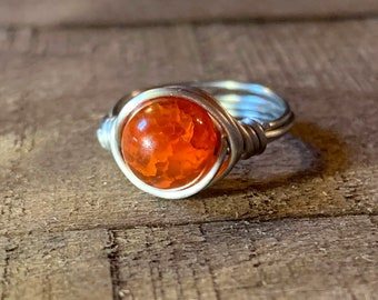 Mexican Fire Agate Ring Sterling Silver Fire Agate Cabochon Fire Agate Jewelry Fire Agate Stone Raw Fire Agate Reiki Healing Crystal Jewelry