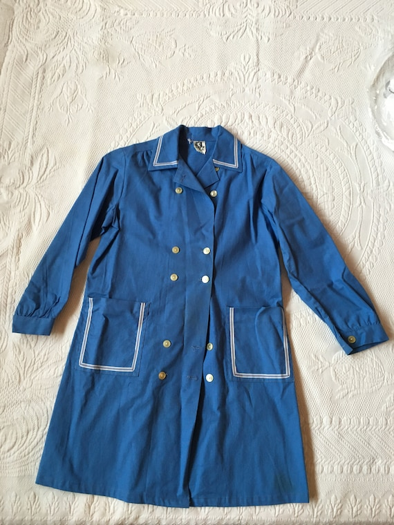 Vintage 1960s Kids Blue Cotton Smock/Shirtdress
