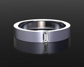 4mm Wedding Band   Moissanite Wedding Band   Unisex Wedding Band   Brushed Finish   Thin Mens Wedding Ring   Solid White Gold