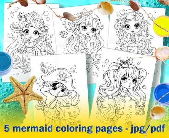 Set Mermaid Coloring Pages PDF & JPG Little cute mermaid