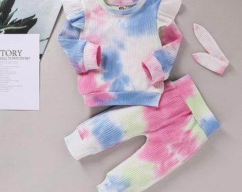 2Pcs Baby Girl Clothes Sets Tie Dye Print Long Sleeve Ruffle + Bowknot Long Pants Set