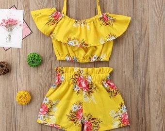 Adorable Floral Shoulder Vest Tops +Short Pants 2Pcs  1-6Y
