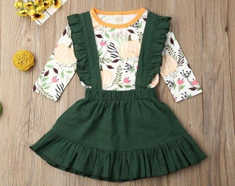 6M-4Years Toddler Kids Baby Girls Long Sleeve + Green Skirts Outfits