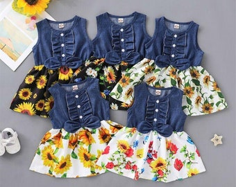 Floral Denim Casual Sleeveless Patchwork Sunflower Dress/Cute Baby Girl Clothing/Baby Gifts