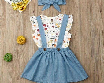 Beautiful Short Sleeve casual Top +Skirt Overalls  Headband Outfits Sets 6M-4Y