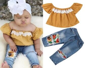 Off Shoulder Tops + Floral Pants Jeans Outfits 2 Pcs
