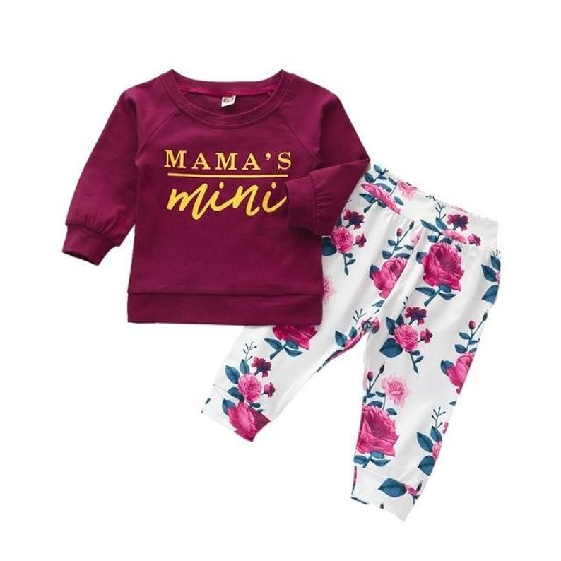 Floral Print Wide Elastic Waistband Pant Cute Baby Girl Letter Long Sleeve