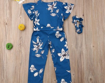 Girls Ruffle Sleeve Floral Romper Long Pants Sash Outfit + Headband/Girls Summer Romper/Cute Girls Outfits/Summer Girls Clothes