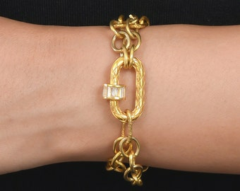 Harlequin Carabiner Double Strand Bracelet Paperclip Chain 925 Silver 18 Ct Gold Plating