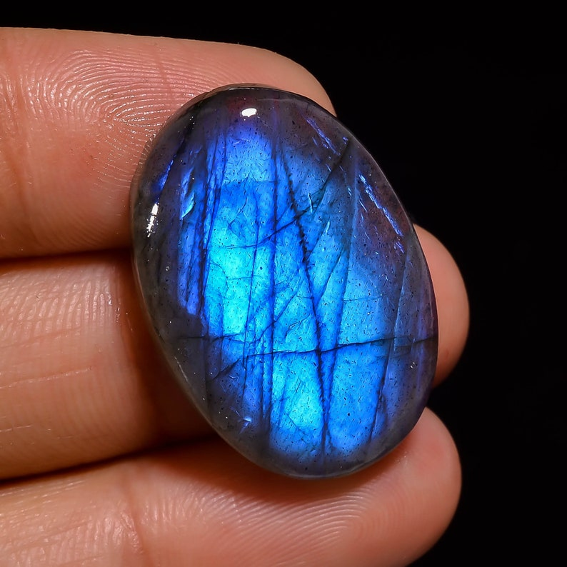 Natural Blue Labradorite Oval Shape Cabochon Loose Gemstone For Making Jewelry 31.5 Ct 27X18X7 mm SU-2026