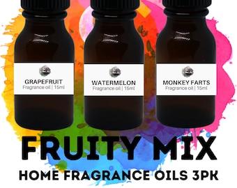 FRUITY Home Fragrance Oils 3PK / Grapefruit / Monkey Farts / Watermelon