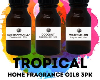 TROPICAL Home Fragrance Oils 3PK / Coconut / Tahitian Vanilla / Watermelon