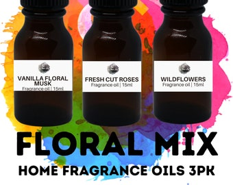 FLORAL Home Fragrance Oils 3PK / Vanilla Floral Musk / Fresh Cut Roses / Wildflowers