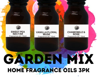 GARDENS Home Fragrance Oils 3PK / Vanilla Floral Musk / Sweet Pea Nectar / Chamomile Rose