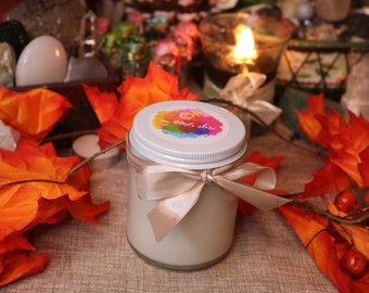FALL SCENTS 8oz Wood wick Soy Candle / Autumn Candles for Home Fragrance & Decor / Apple, Cinnamon, Vanilla, Pumpkin Spice