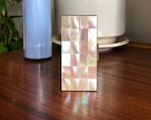 Vintage Marhill Mosaic Mother of Pearl Case - 1950s Mother of Pearl Brass Case - Vanity Decor - Glam