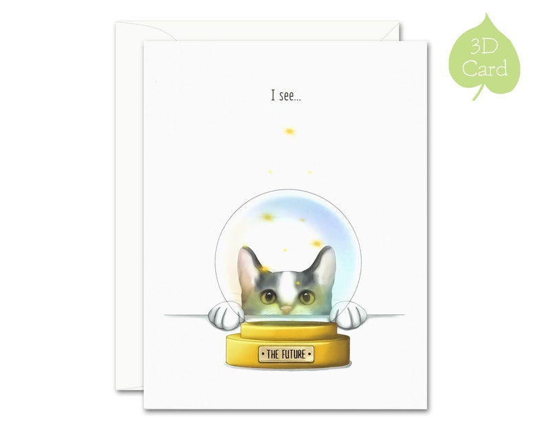 Cat Fortune 3D Greeting Card