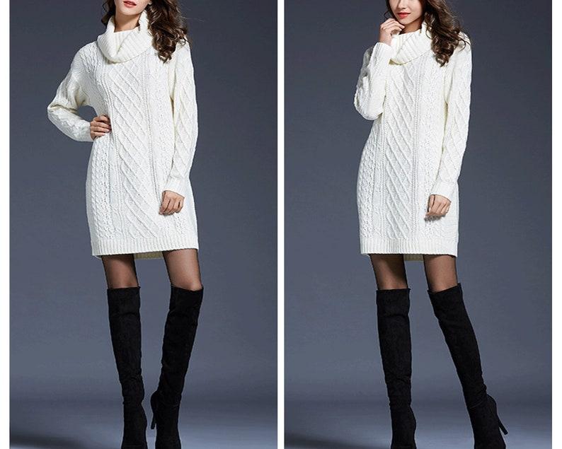 winter pullover,Slouchy Sweatshirt,Tunic Sweatshirt  S001 Roll neck jumper dress Turtleneck jumper White wool longline tunic,knit jumper