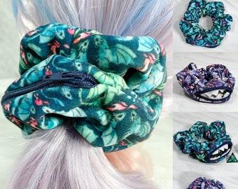 Velvet Dragon Zipper Scrunchie, Mimic, Stashie, Dnd, RPG, Gaming, Hair Tie, Elastic