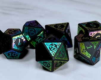 Obsidian with Rainbow Foil RPG Dice, Gemstone, Polyhedral 7 die set, D&D, Stone, Engraved