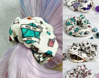 Roll the Dice Zipper Stash Scrunchie, Mimic, Stashie, Dnd, RPG, Gaming, Hair Tie, Elastic