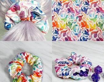 Rainbow Dragon Zipper Mimic Scrunchie, Dnd Dice Fabric, Stash, Stashie, TTRPG, Dice, RPG, Gaming, Hair Tie, Elastic