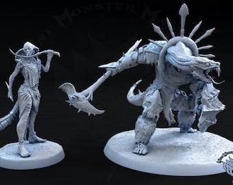 Yuan-Ti Miniature, Snake folk, Mini Monster Mayhem, Awaken Beast Within, TTRPG mini, Dnd, Pathfinder, Resin Miniature, 3D printed mini